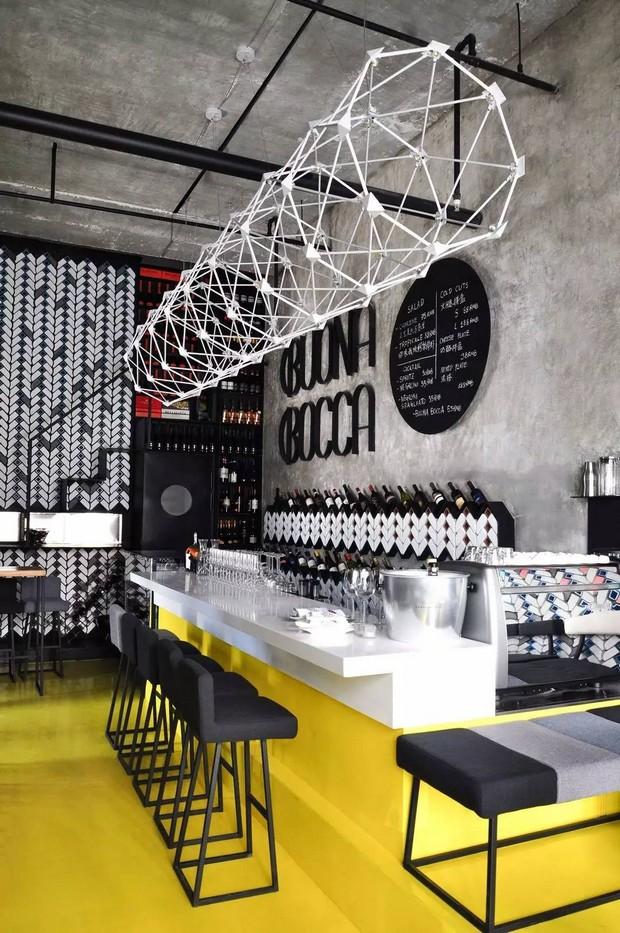Italian wave of modern design meeting the traditional Chinese: Buonabocca Italian winebar