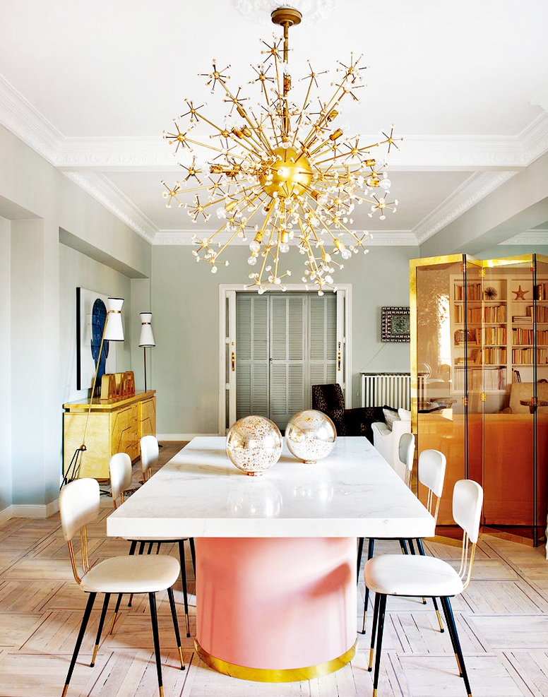 get the look 17 mid century modern glamorous dining room design  cheery but elegant space in Spain