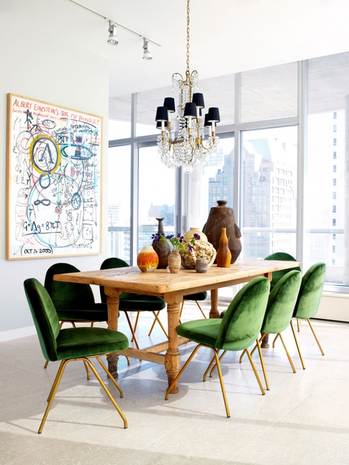 get the look 17 mid century modern glamorous dining room emerald green and golden dining chairs