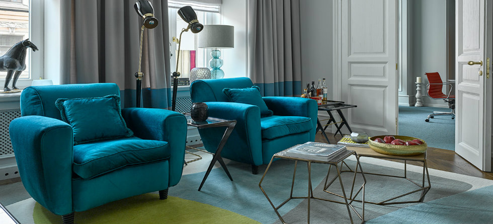 Apartment in Russia featuring mid-century modern furniture & lighting