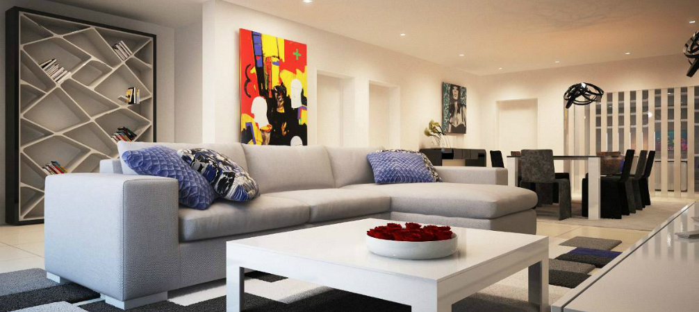 A Luxurious Modern Apartment With Vibrant Colors And Modern Lamps