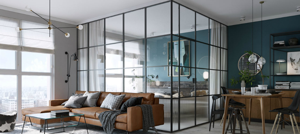 room of the week: an open plan living space with a glass wall