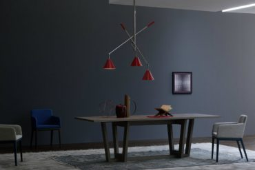 Decor Inspirations Pastel Colors In Modern Dining Rooms sinatra red suspension lamp by delightfull