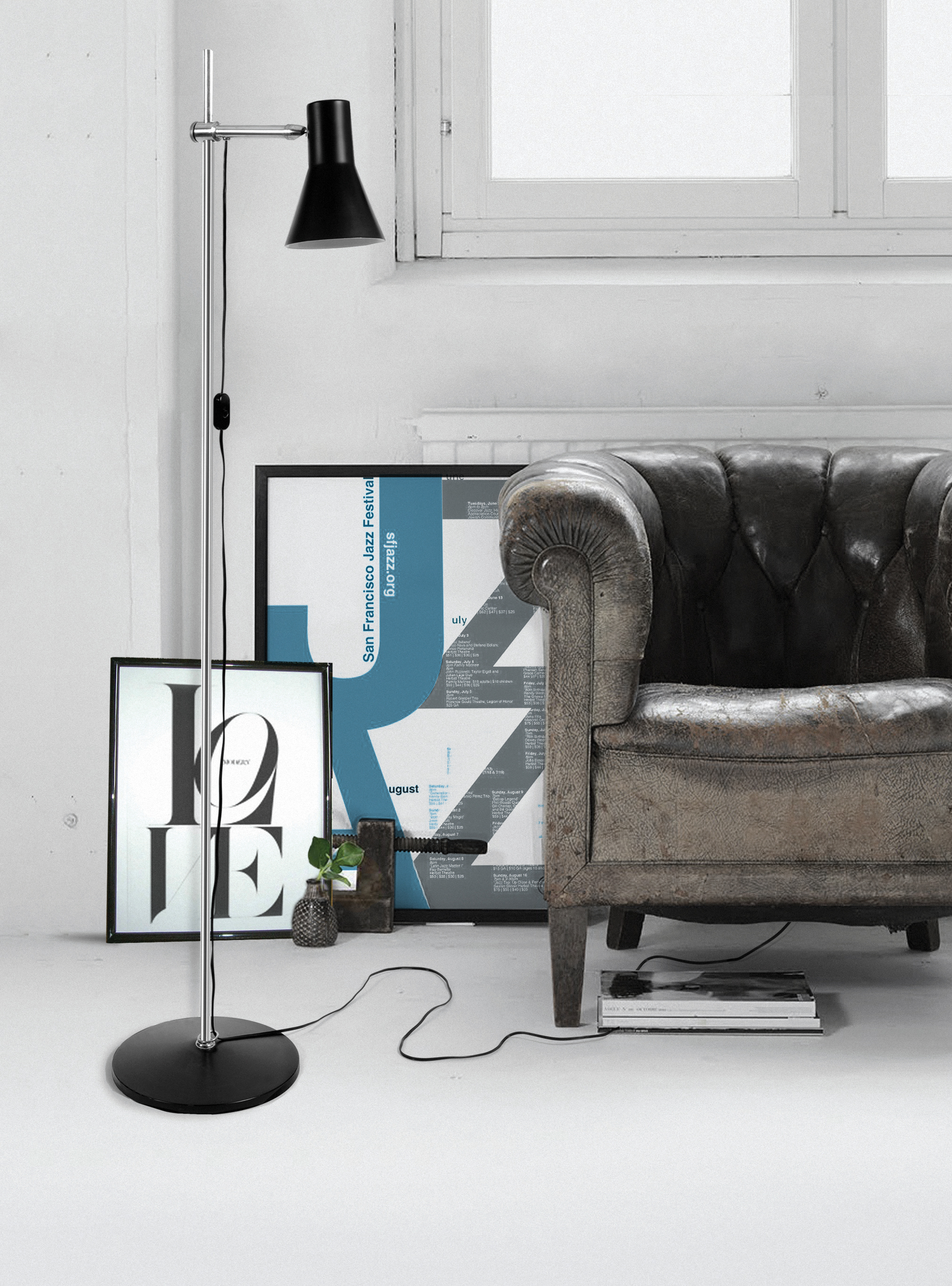 """Floor lamps are also a great choice! They can provide you the right lighting and at the same time being a nice piece to decorate some empty space at your office. The 1 light adjustable head floor lamp with matte black and matte white accents has a simplistic and sleek design featuring a black textile cord and an adaptable shade. It's all customized. This lamp can reach 70.5"""" inches what allows you to direct light anywhere a task light is needed whichmakes the perfect floor lamp to your office space."""