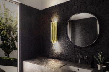 Luxurious Black and Gold Bathroom With Brubeck Wall