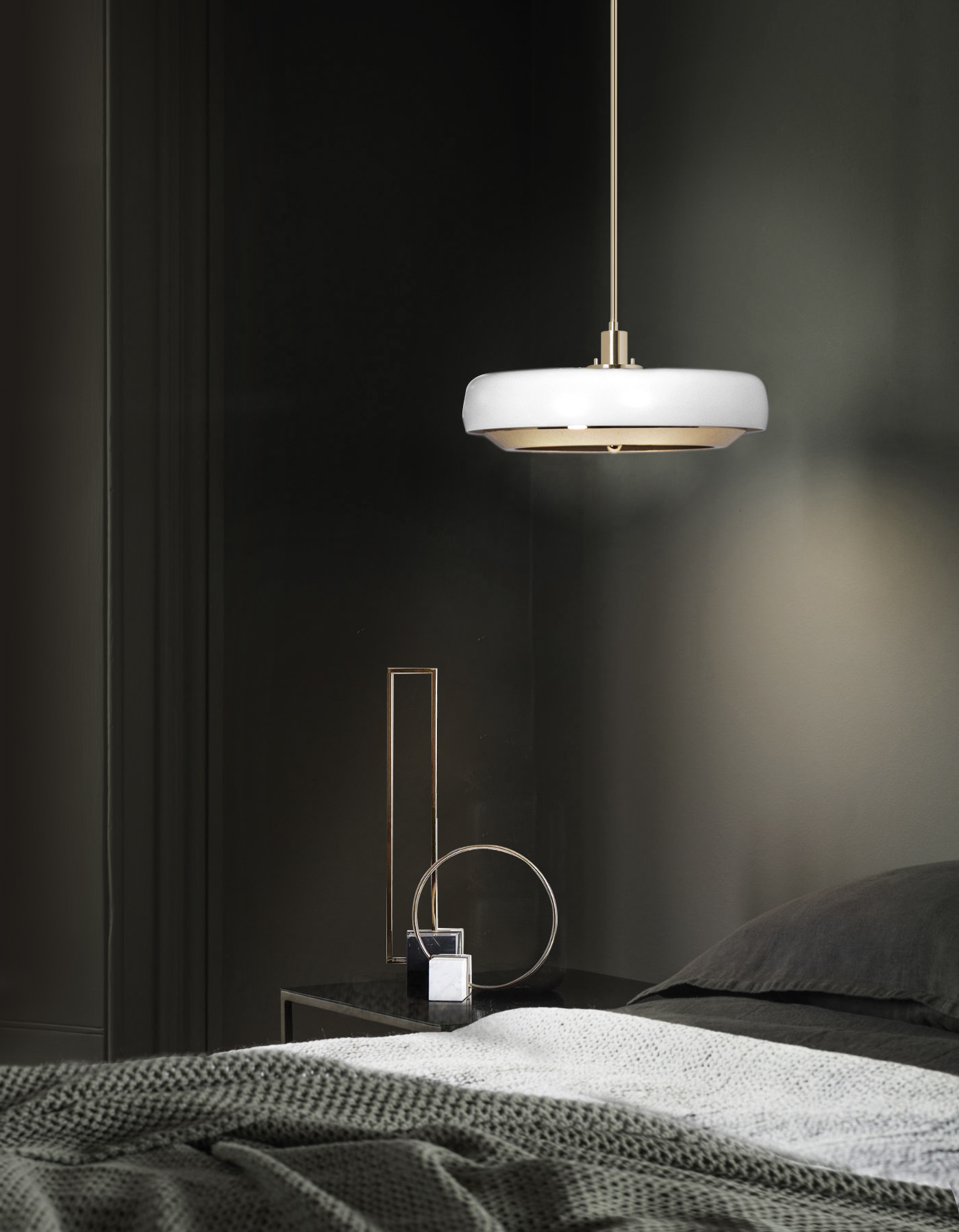 Black Bedroom with Carter Pendant