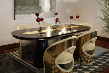 MID-CENTURY MODERN DINING ROOM HIGHLIGHTING GOLDEN DETAILS