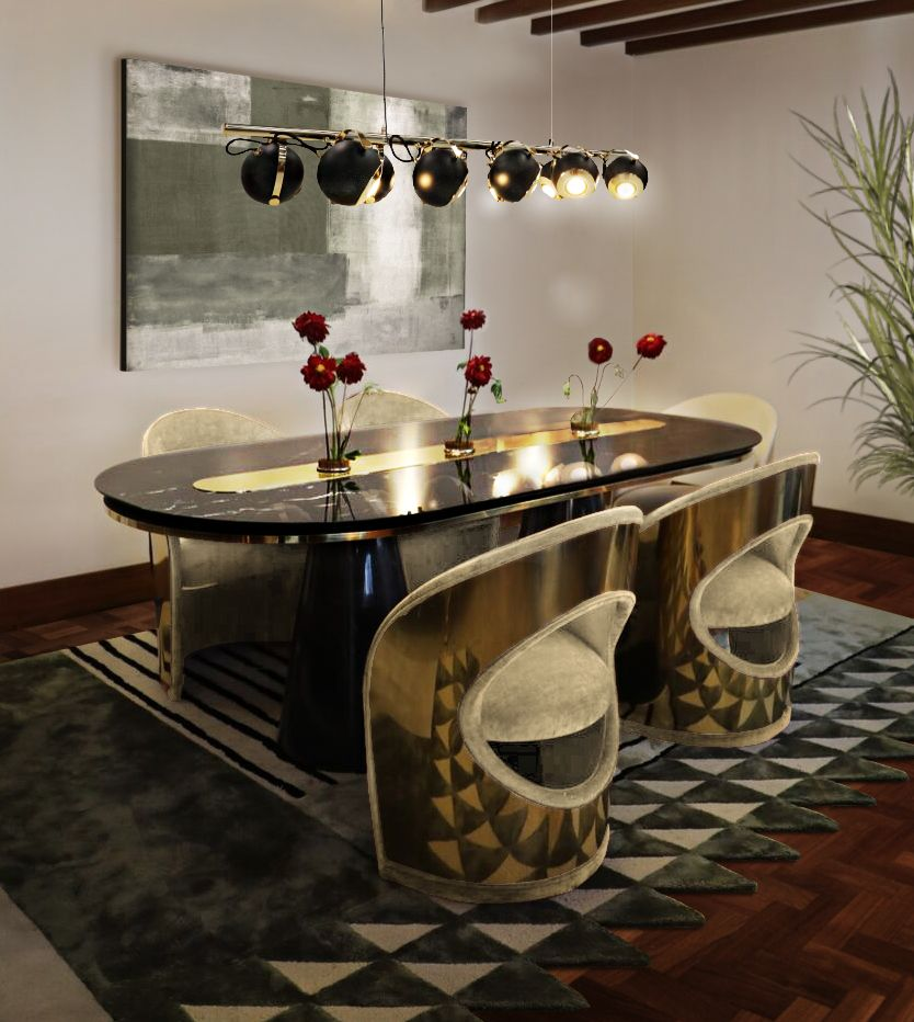 MID-CENTURY MODERN DINING ROOM HIGHLIGHTING GOLDEN DETAILS
