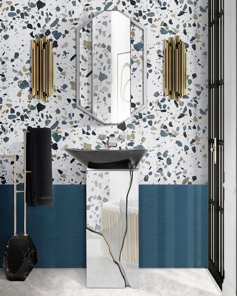 LUXURIOUS BLUE BATHROOM WITH A BRUBECK WALL