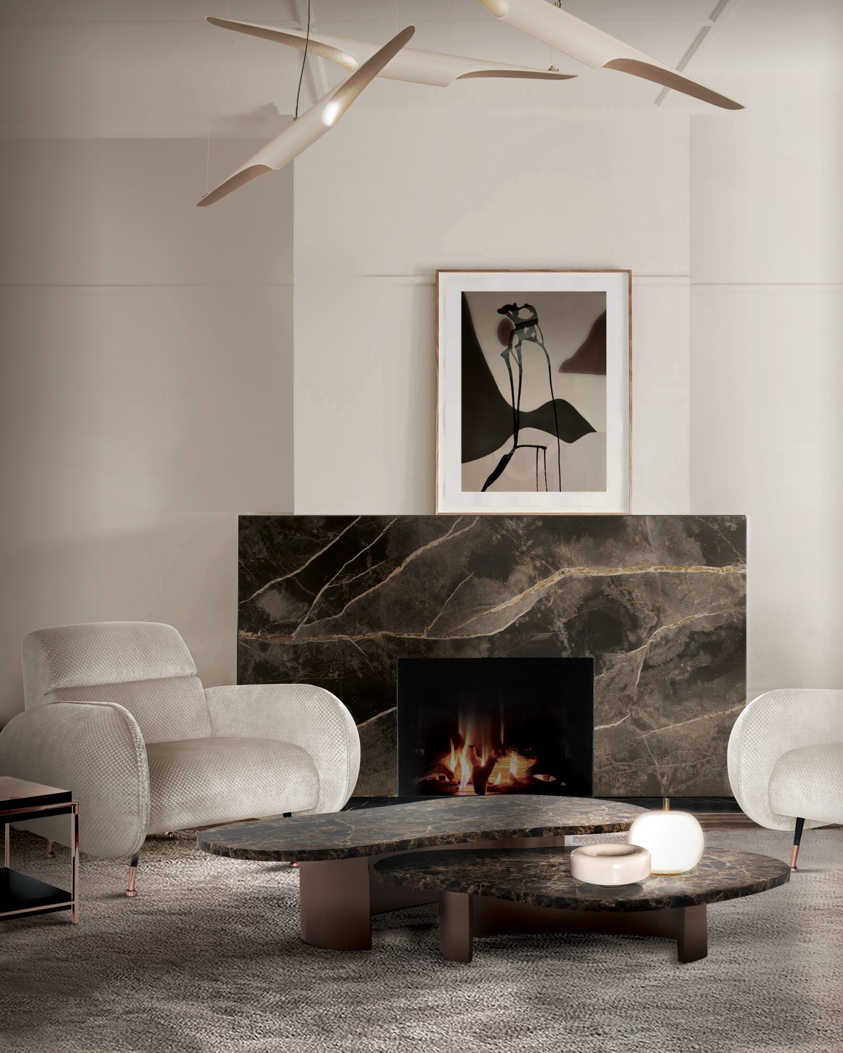 REFRESHING WHITE LIVING ROOM WITH COLTRANE SUSPENSION