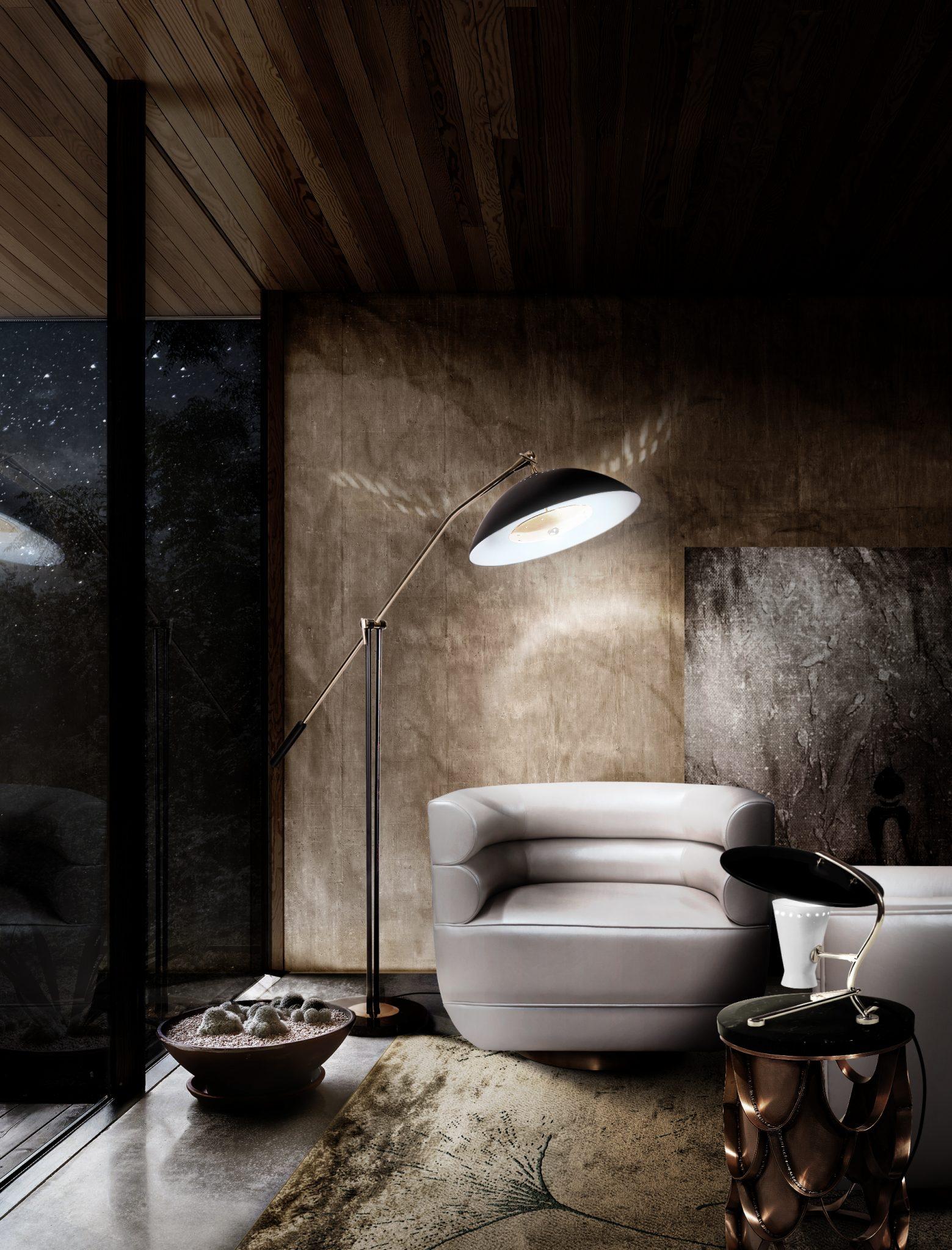 WELL-LIT LIVING ROOM CORNER AT NIGHT