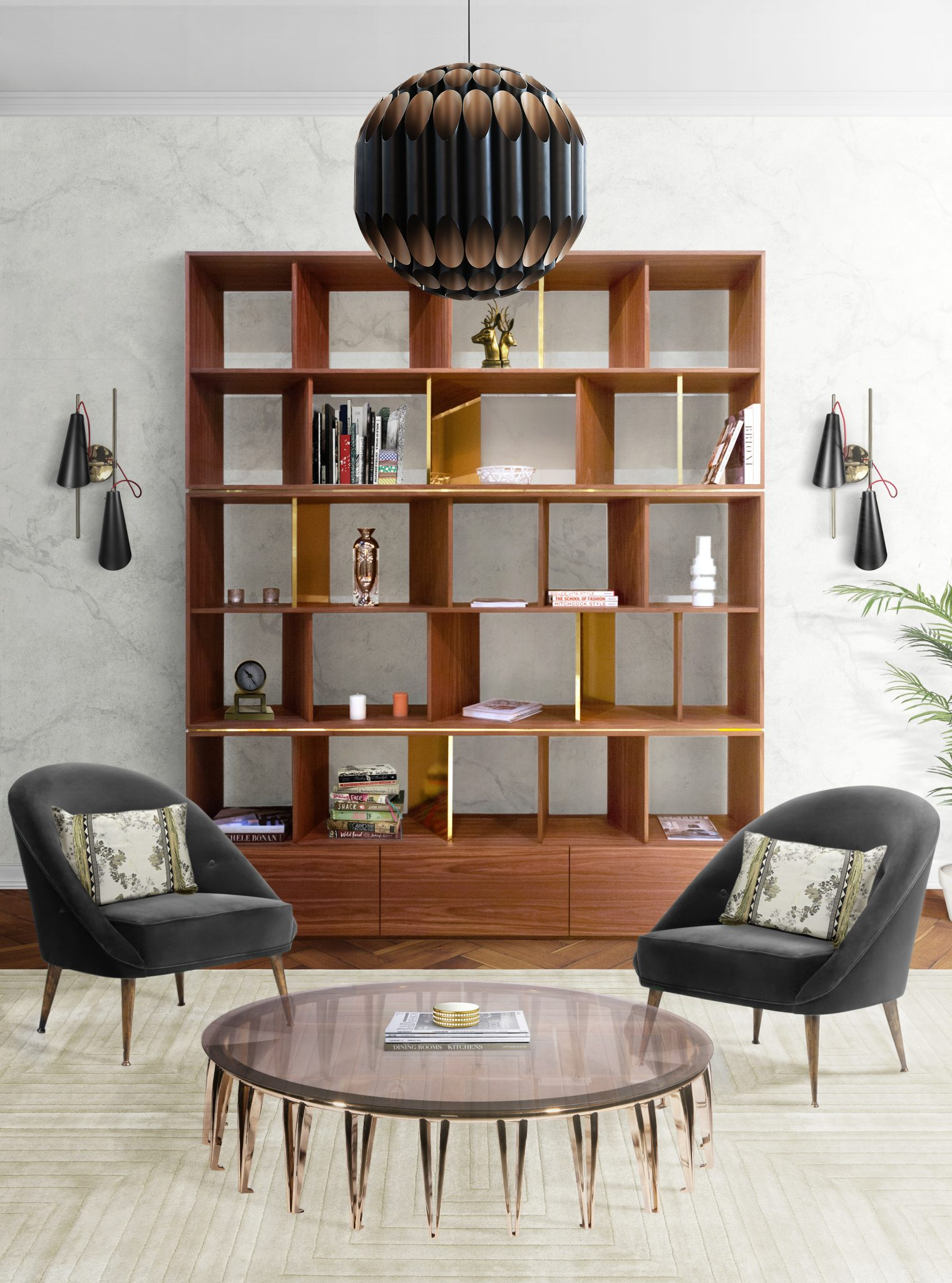 MID-CENTURY MODERN LIVING ROOM WITH KAVRITZ SUSPENSION AND EVANS WALL