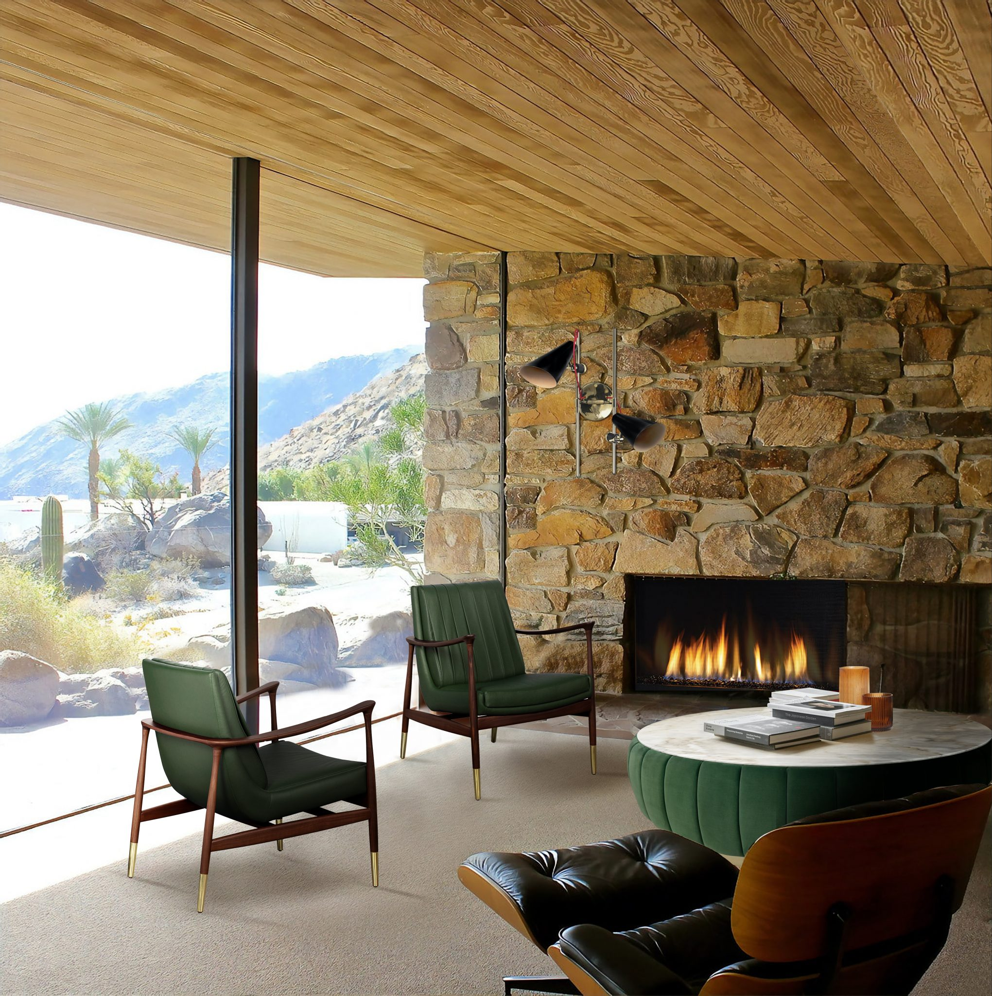 CLASSIC MODERN LIVING ROOM WITH MID-CENTURY STYLE