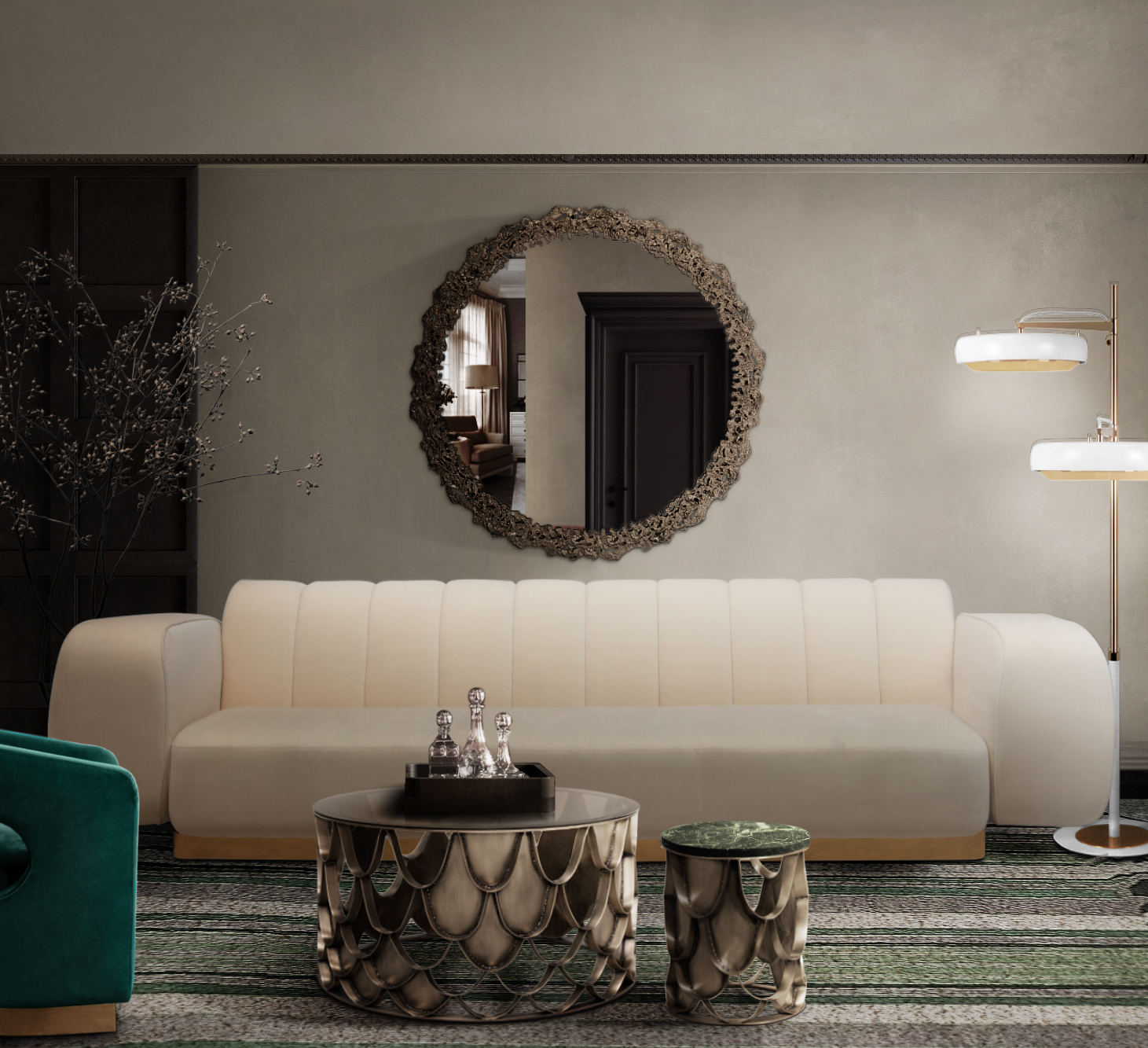 LIVING ROOM INTERIOR WITH MEMORABLE LIGHTING