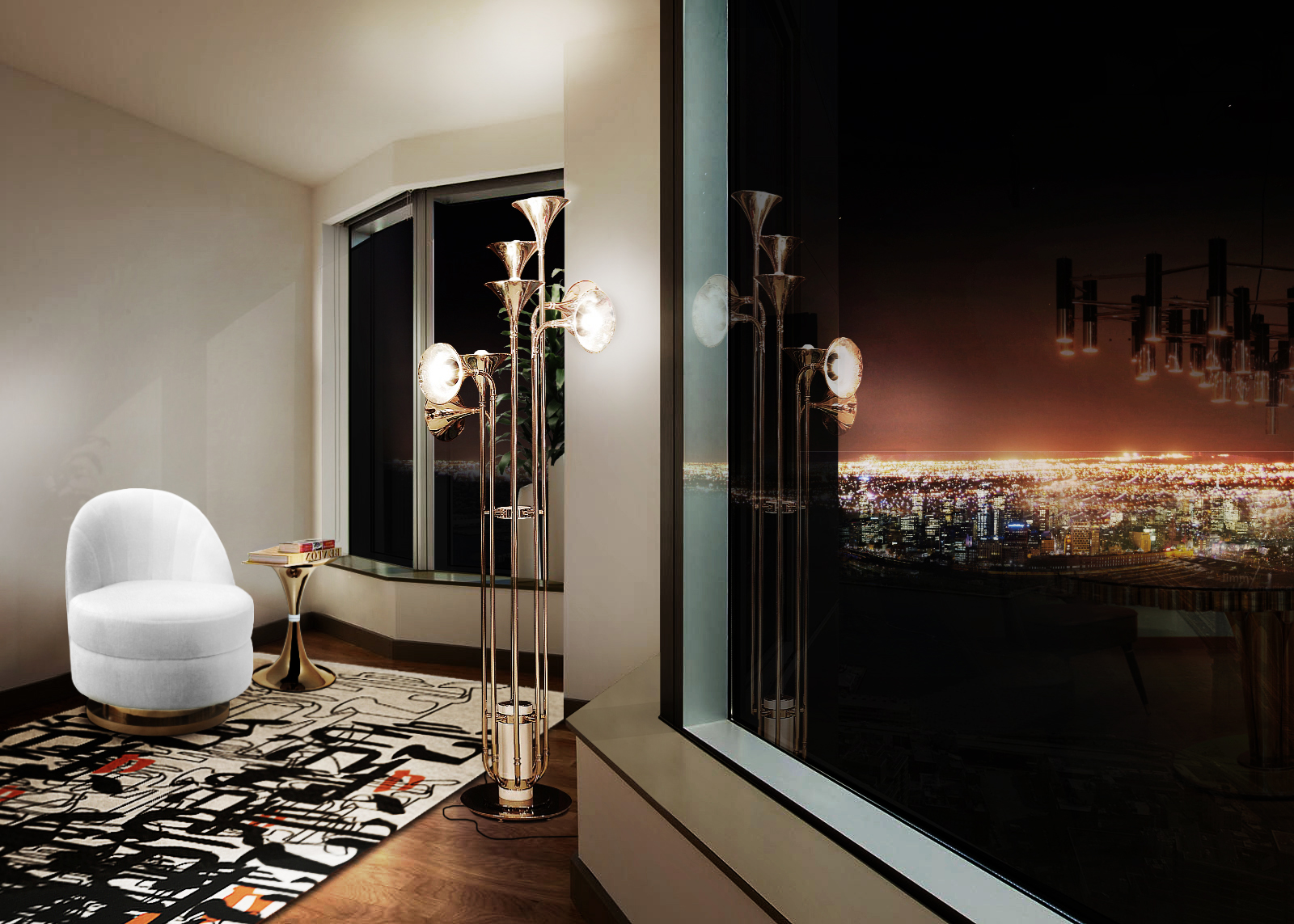 LIVING ROOM WITH CITY VIEW