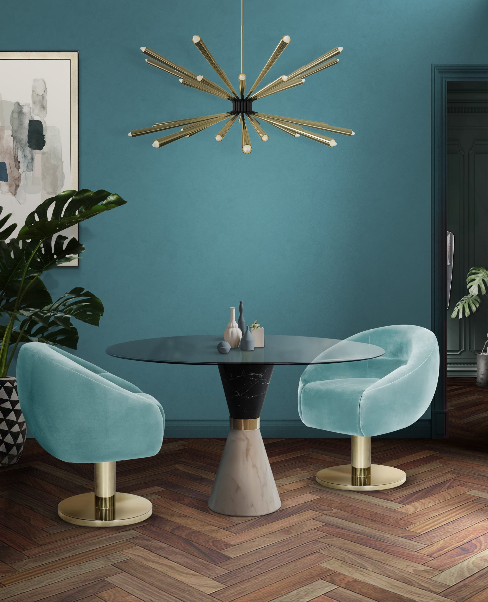 DINING ROOM WITH A BLUE INTERIOR