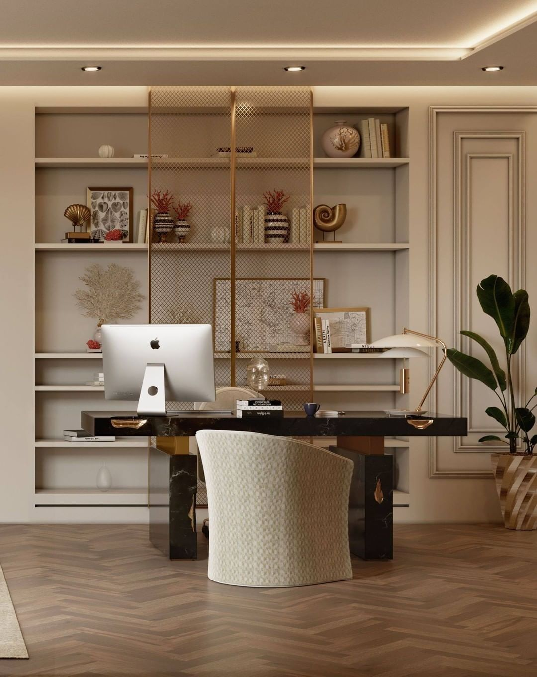A MID-CENTURY MODERN STYLE OFFICE IN NEUTRAL TONES