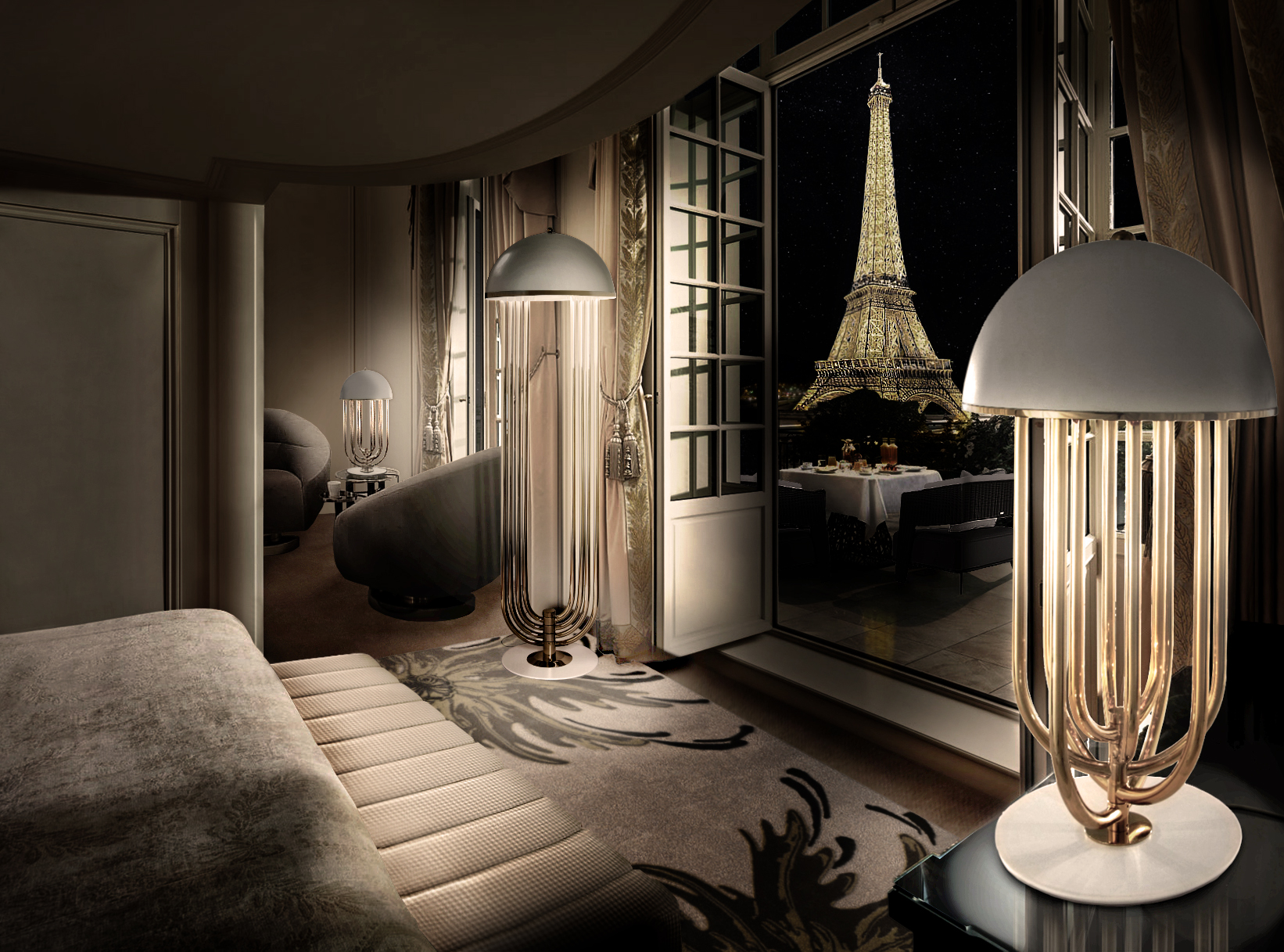 CAPTIVATING PARIS VIEW AT NIGHT FROM BEDROOM
