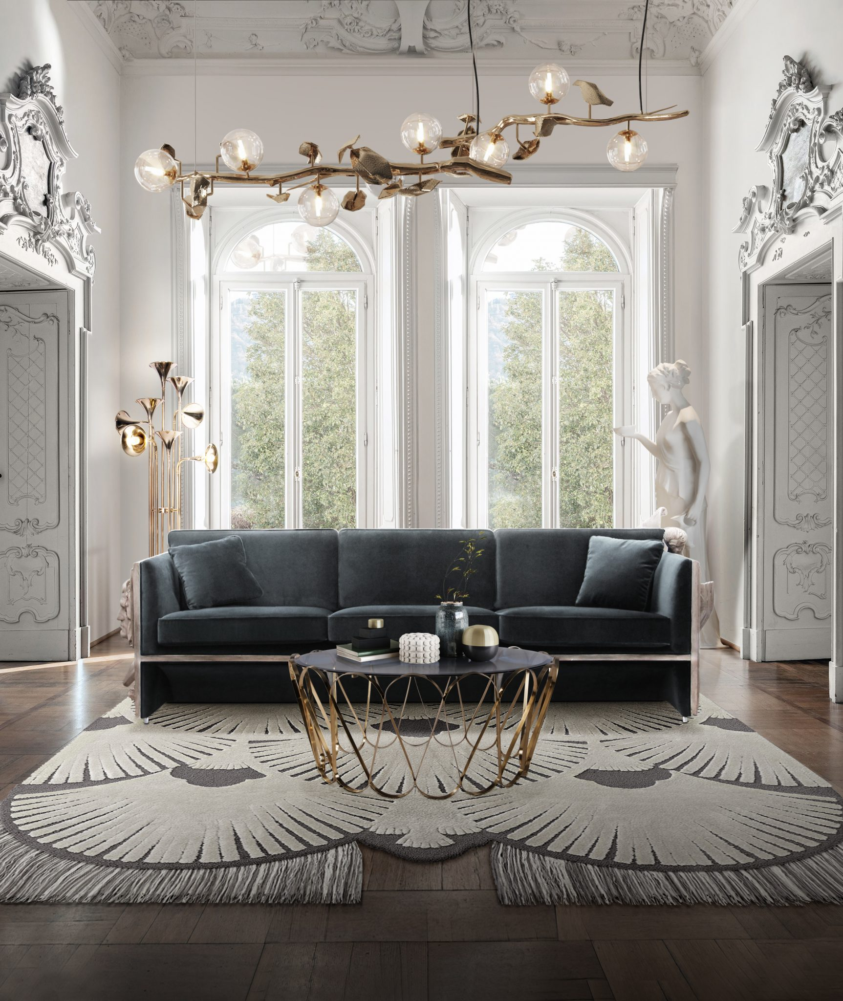 A TRENDY LIVING ROOM WITH BOTTI FLOOR LAMP