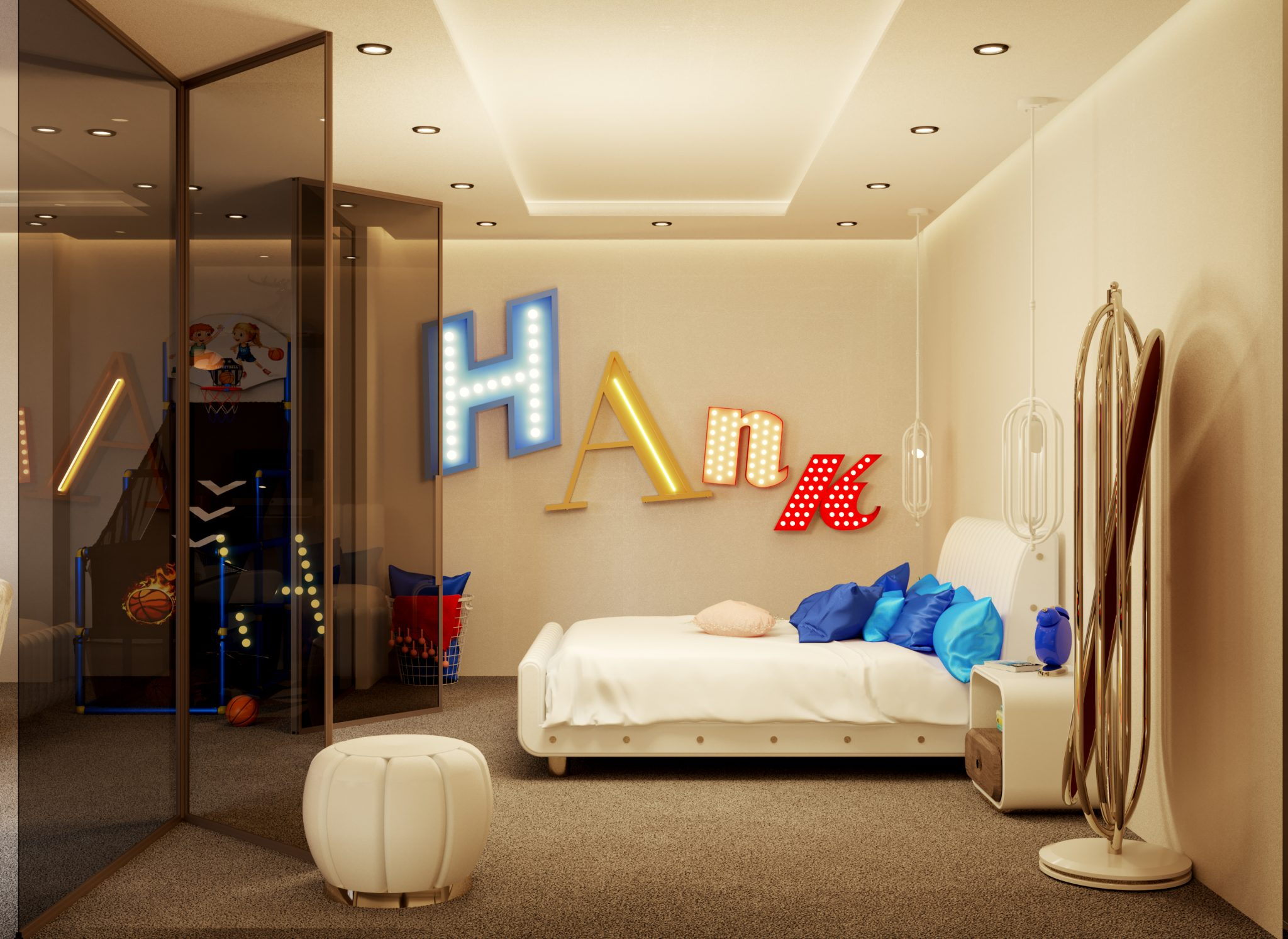 Exclusive Child's Bedroom Decorated With High-End Lighting